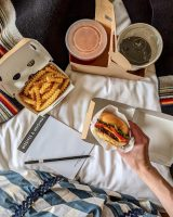 Shake Shack in bed is pictured.
